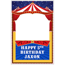 circus carnival birthday selfie frame social media photo booth
