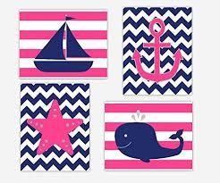 amazon com nautical baby nursery wall art pink navy blue