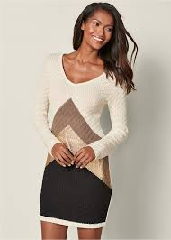 color block sweater dress in ivory multi venus