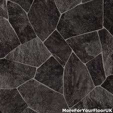 slate black tile vinyl flooring roll feltback lino 4m ebay