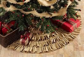 burlap tree skirt burlap ruffled 48 christmas tree skirt by vhc brands