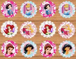 24 disney princess cupcake toppers