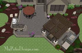 Rear Patio Designs Rear Paver Patio Design With Pergola Fireplace Bar