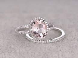 gold halo engagement rings morganite engagement ring white gold halo bridal set 7x9mm