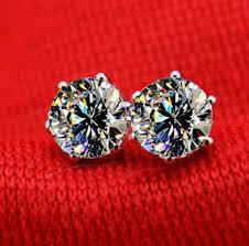 diamond stud earrings for women aliexpress buy 2ct classic 6 prongs earrings gold
