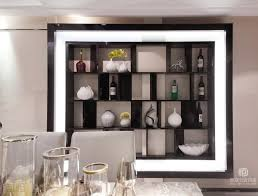 contemporary asian style wine shelves on the wall in modern dining