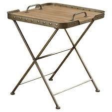 Folding Side Table Wooden Top Folding Side Table In A Metal Frame With Removable