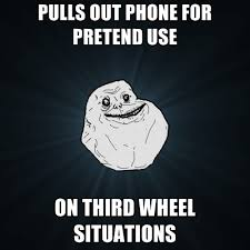 3rd Wheel Meme - pulls out phone for pretend use on third wheel situations create meme