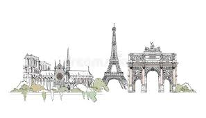 paris notre dame thriumph arch and eiffel tower sketch