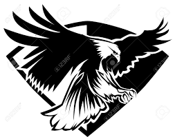 eagle mascot flying wings badge design royalty free cliparts