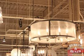 Industrial Home Interior Design Home Design Nice Burlap Drum Shade Chandelier Exciting For