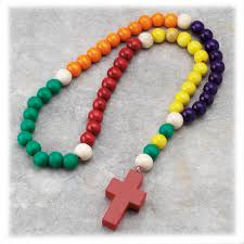 baby rosary large multi colored kiddie wood rosary st patricks guild