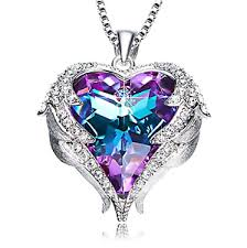 ebay necklace heart images Angel wings pendant necklace heart love crystals jewelry for her png