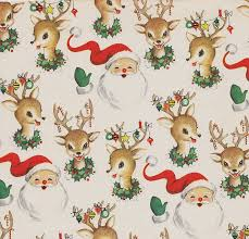 vintage christmas wrapping paper vintage christmas wrap santa and reindeer vintage christmas santa