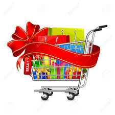 box cart illustration of cart full of shopping bag and gift box with sale