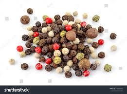 black red green white allspice peppercorns stock photo 646955869