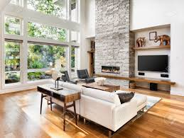 living room interior with hardwood floors and fireplace in new