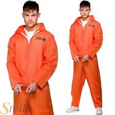 prison jumpsuit costume mens orange convict boiler suit costume chain prisoner