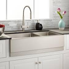 Optimum  Offset DoubleBowl Stainless Steel Farmhouse - Kitchen double bowl sinks