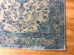 Cotton Chenille Rug Faded Vintage Traditional Persian Medallion Style Teal Grey Cotton