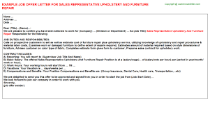 Upholstery Define Sales Representative Upholstery And Furniture Repair Offer Letter