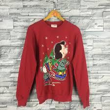 snoopy christmas sweatshirt snoopy pelt sweater mens medium vintage 90s peanuts
