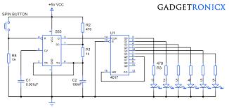 electronic dice circuit using ic cd4017 gadgetronicx