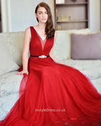 elegant v neck sleeveless floor length long tulle bridesmaid dress
