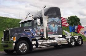 volvo highway tractor volvo mack unveil ride for freedom military tribute trucks