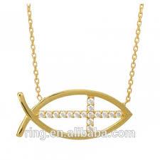 jesus fish necklace gold tone cross jesus fish pendant necklace catholic church