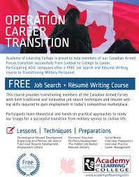 resume writing course academy of learning college kingston campus operation career connect with us