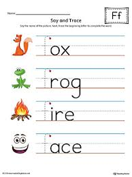 say and trace letter f beginning sound words worksheet color
