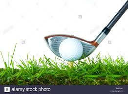 white background shot of a golf ball sitting on a tee on grass
