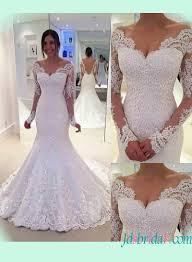 h1393 sheer back illusion long sleeved lace mermaid wedding