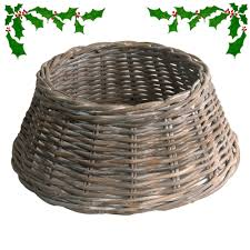grey whitewash wicker tree skirt or stand cover in 3 sizes