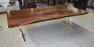 Living Edge Dining Table Walnut Live Edge Dining Table With Contemporary Gold Base