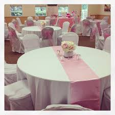 table sashes pink baby shower sugar and spice pink table runners pink chair