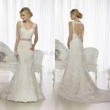 exquisite 2015 lace mermaid wedding dress v neck keyhole back long