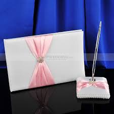 wedding guest book set satin wedding guest book and pen set with pink bow design