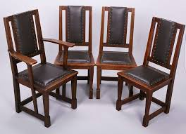 set of 4 stickley brothers upholstered back dining chairs 3 side