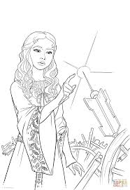 princess aurora her finger on the spinning wheel coloring