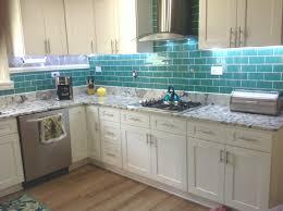 Glass Tile Backsplash Pictures For Kitchen Inspiring Teal Glass Tile Backsplash White Kitchen Image For How