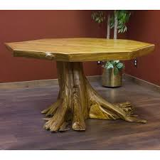 Rustic Octagon Dining Table With Stump Base - Octagon kitchen table