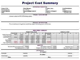Excel Costing Template Project Cost Summary Template Free Layout Format