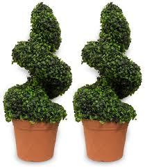 woodside artificial topiary swirl trees 2 pack ornamental