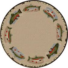 Pebble Area Rug Pebble Creek Trout 8 U0027 Round Area Rug Cabin Place