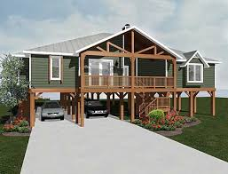 plan 3481vl elevated living beach house plans storm surge and