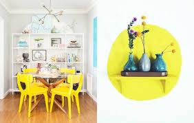 chaises jaunes design interieur peinture decorative dessin geometrique cercle