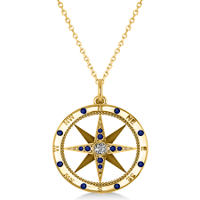 sapphire necklace yellow gold images Compass pendant blue sapphire diamond accented 14k yellow gold jpg