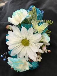 flower corsage mixed flower corsage blue